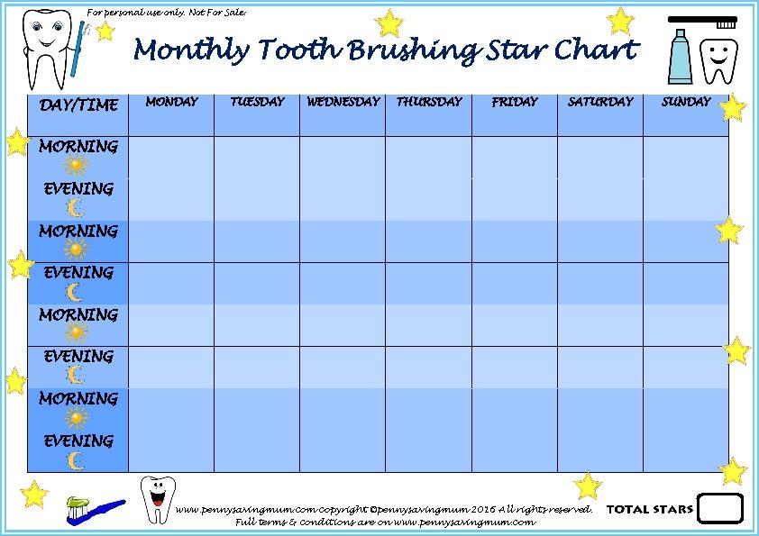 Monthly Tooth Brushing Star Chart Boys Pdf Thumbnail Penny Saving Mum