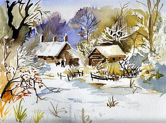 Two Cottages In The Snow Pennys Watercolours