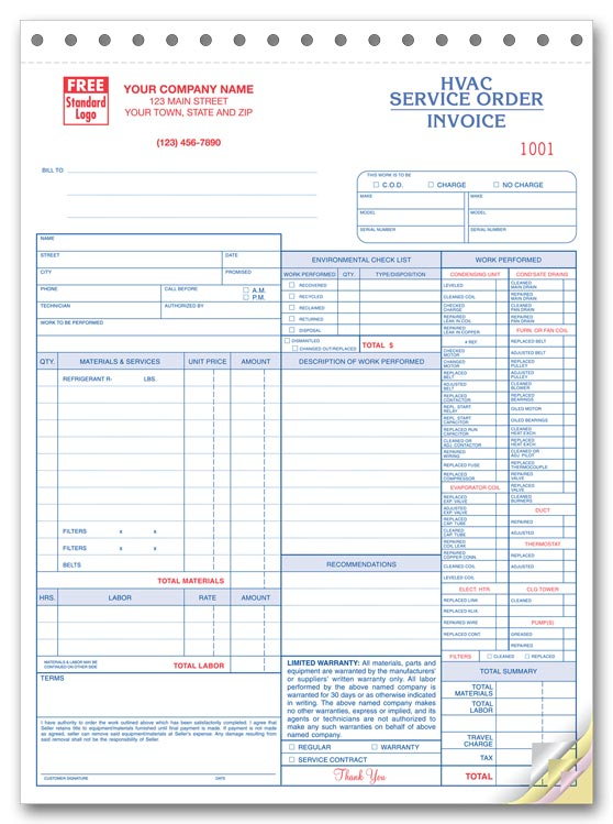 6501 aka 65013 HVAC Service Order Forms with Checklist