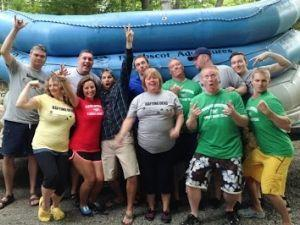 Having a great day with their Maine white water rafting crews.