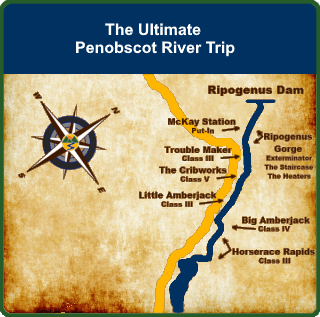 Ultimate Penobscot River Rafting Map
