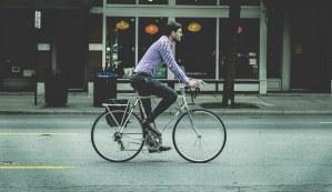 a man enjoying road biking