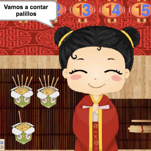 Contar palillos chinos con diferentes representaciones (11-15)