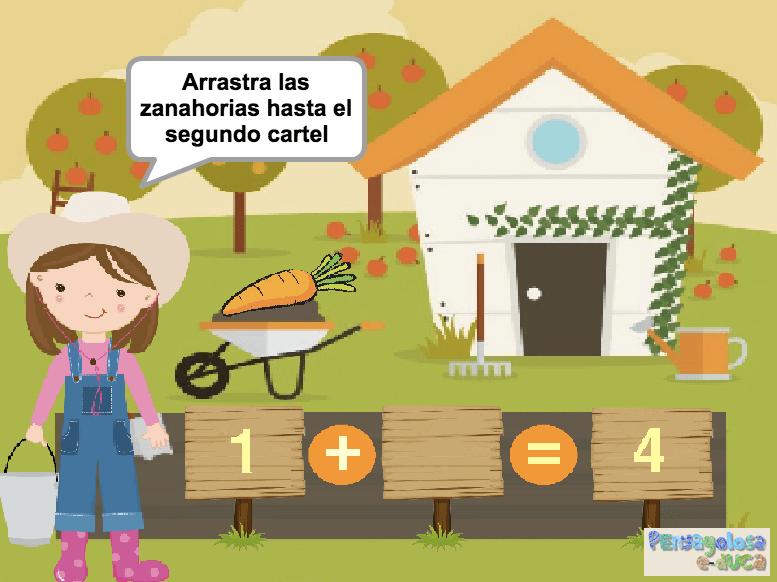 Añade al cartel las zanahorias que faltan (1-5)