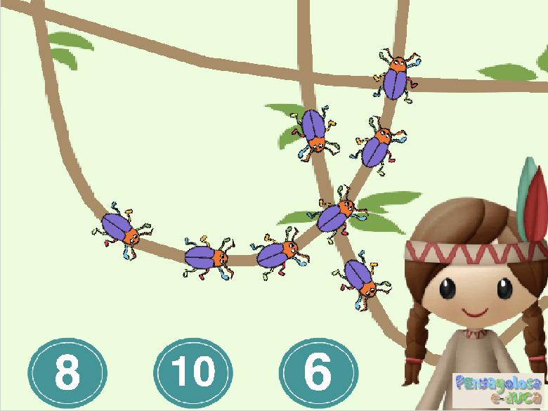 ¿Cuántos bichos hay en la liana? (5-10)
