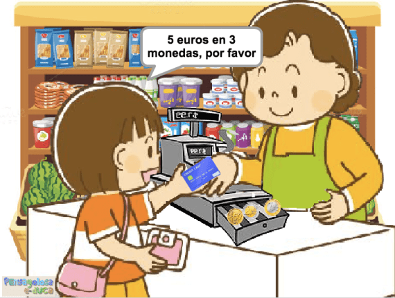 Tres monedas en efectivo (50c, 1 y 2 euros)(1-6)