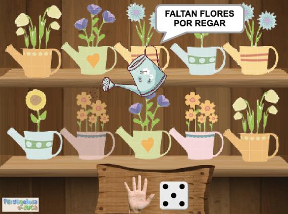 Riega TANTAS flores COMO indican los dedos y el dado (1-5)