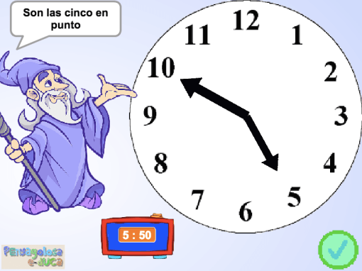 Mueve las agujas del reloj (en punto e y media)