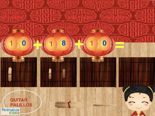 Suma tres cantidades arrastrando palillos chinos (10-50)
