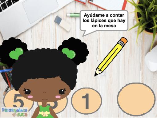 Cuenta los lápices que hay en la mesa (1-5)