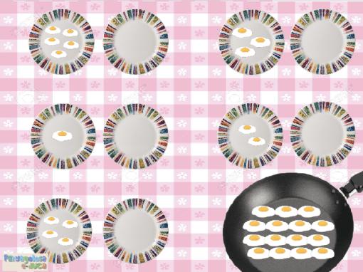 Sirve la MISMA cantidad de huevos fritos que el plato de al lado (1-5)