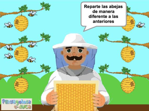 Repartir abejas en 2 partes de 3 maneras diferentes (1-6)