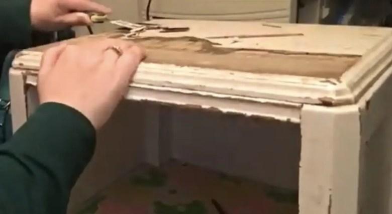 Peel the damaged veneer