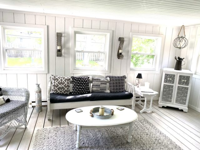 Porch Decorated with Garage Sale treasures