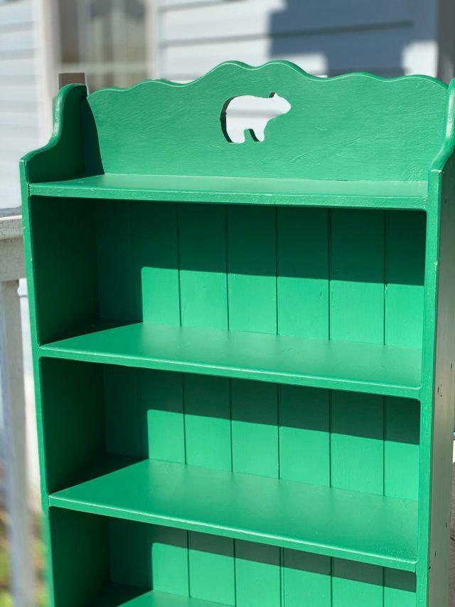 Finished bookshelf with new backing
