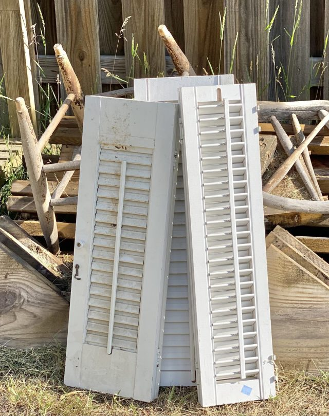 Shutters and old deck pieces ready to upcycle