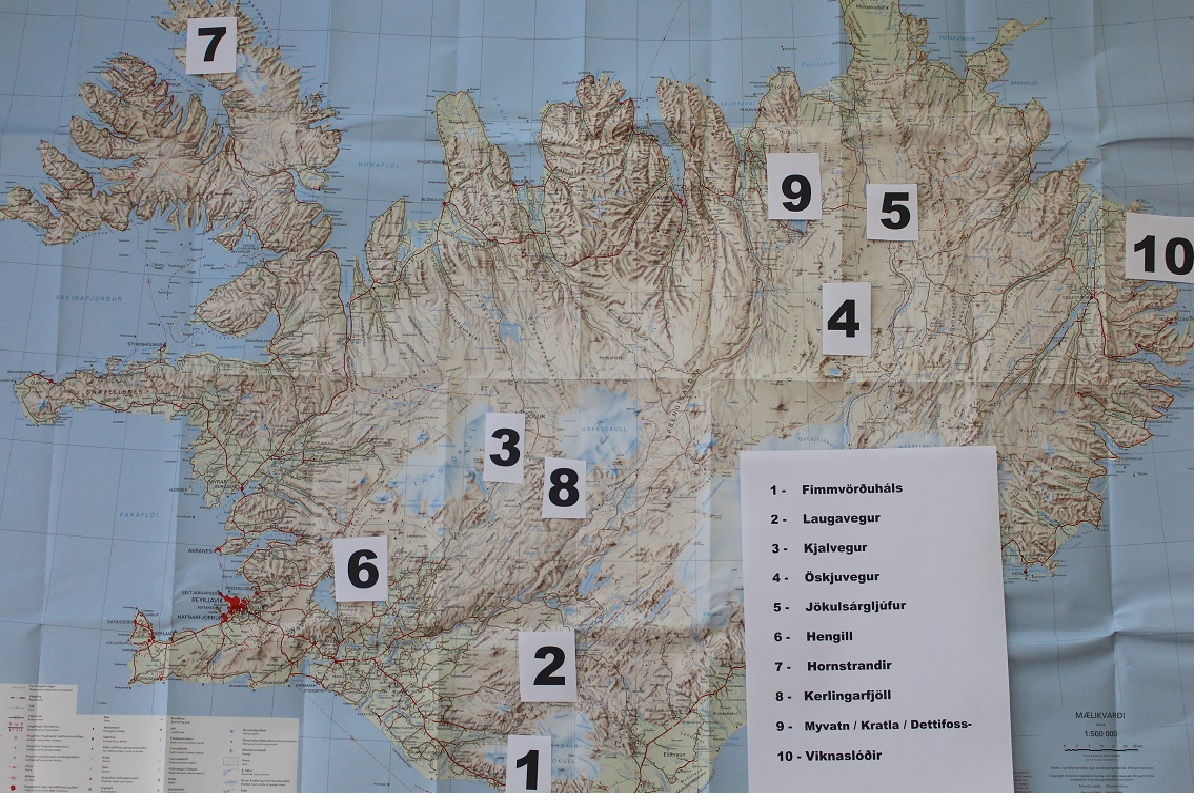Landkarte Island Wanderwege
