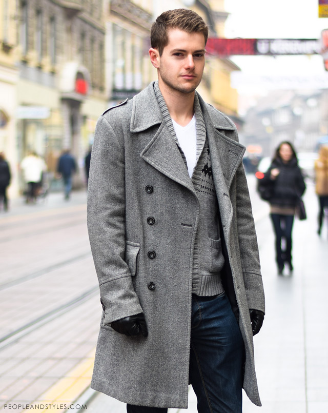 Guys Casual Winter Outfit: Grey Coat and a Woolly Cardigan