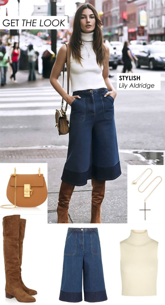 Lily Aldridge Stylish Look In Culottes And Over The Knee Boots