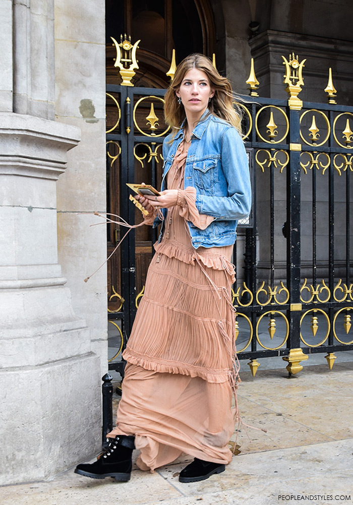 Street Look: Sweet Veronika Heilbrunner Wearing Chloé Plissé Silk-chiffon Maxi Dress