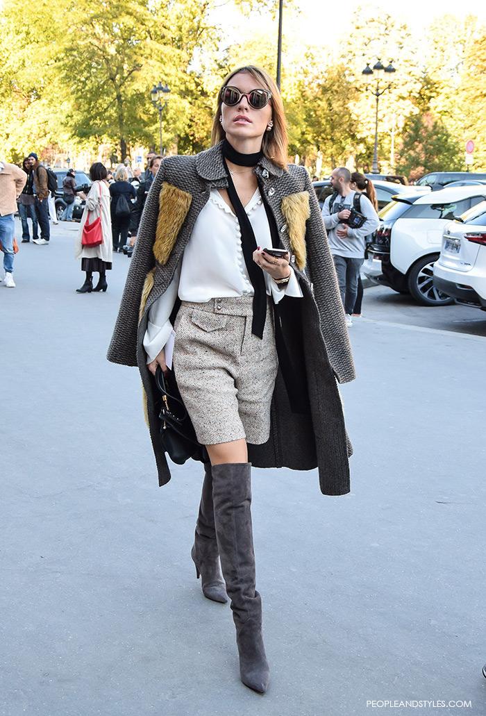 how to wear over the knee boots Saint Lauren, street chic look