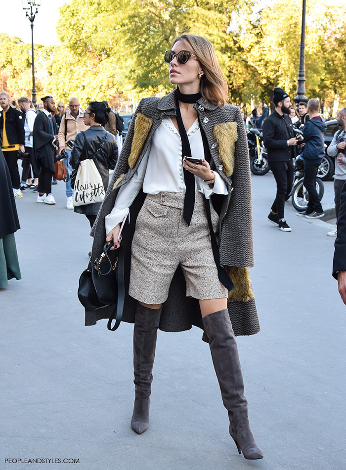 how to wear Saint Lauren over the knee boots and shorts pants, Paris street chic look