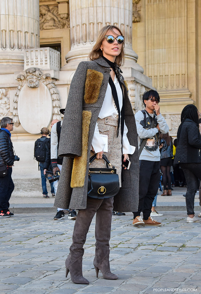 how to wear Saint Lauren over the knee boots and Chloe Goldie small leather shoulder bag, Paris street chic look