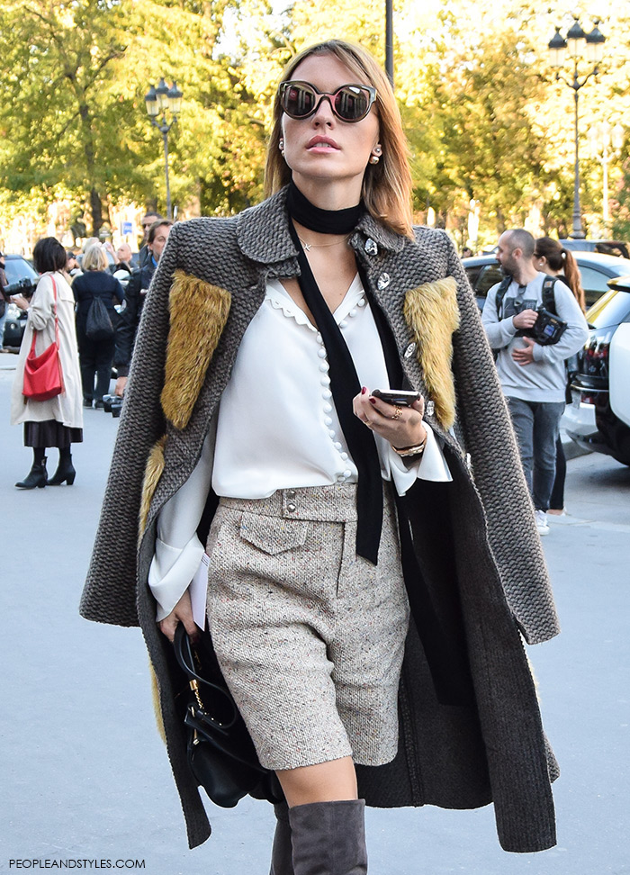 how to wear Chloe silk crepe de chine blouse with exaggerated cuffs and a contrasting black neck tie, Paris street chic look