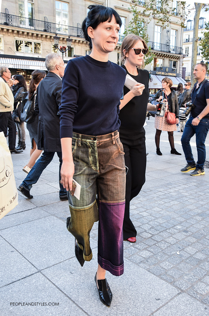 How to wear two-tone denim culottes, Street Style Look, fashion designer Marco DeVincenzo