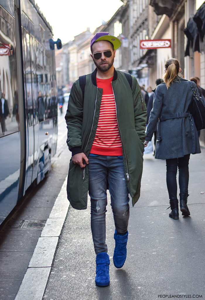 Men's fashion, how to wear bomber jacket, sneakers and stripped shirt, street style casula outfit inspiration