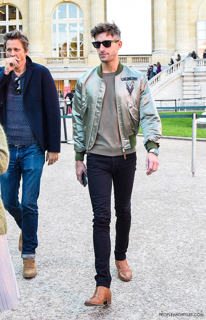 street dressing fashion guys, Men's fashion, how to wear bomber jacket, street style casula outfit inspiration