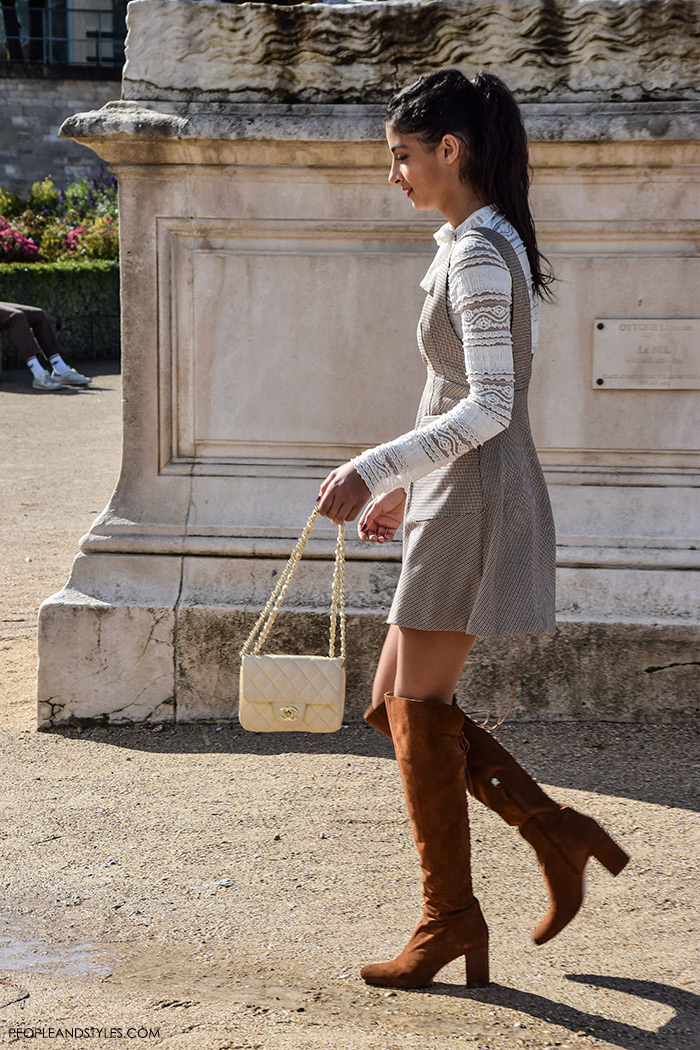 Paris street style Parisien chic, how to wear lace top, mini dress and brown over the knee boots
