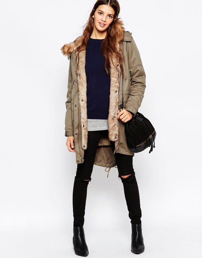 how to wear parka jacket now - price buy on sale Asos ASOS Parka With Detachable Faux Fur Lining and hood