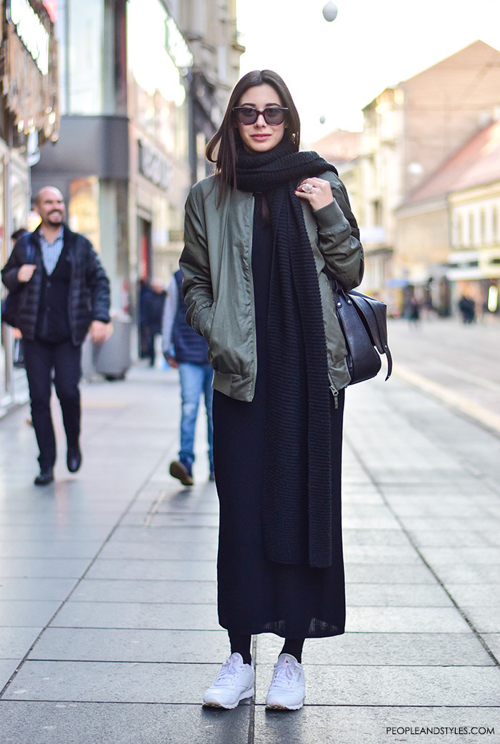 How to wear green bomber jacket, black long dress, long scarf and white sneakers, street style fashion inspiration
