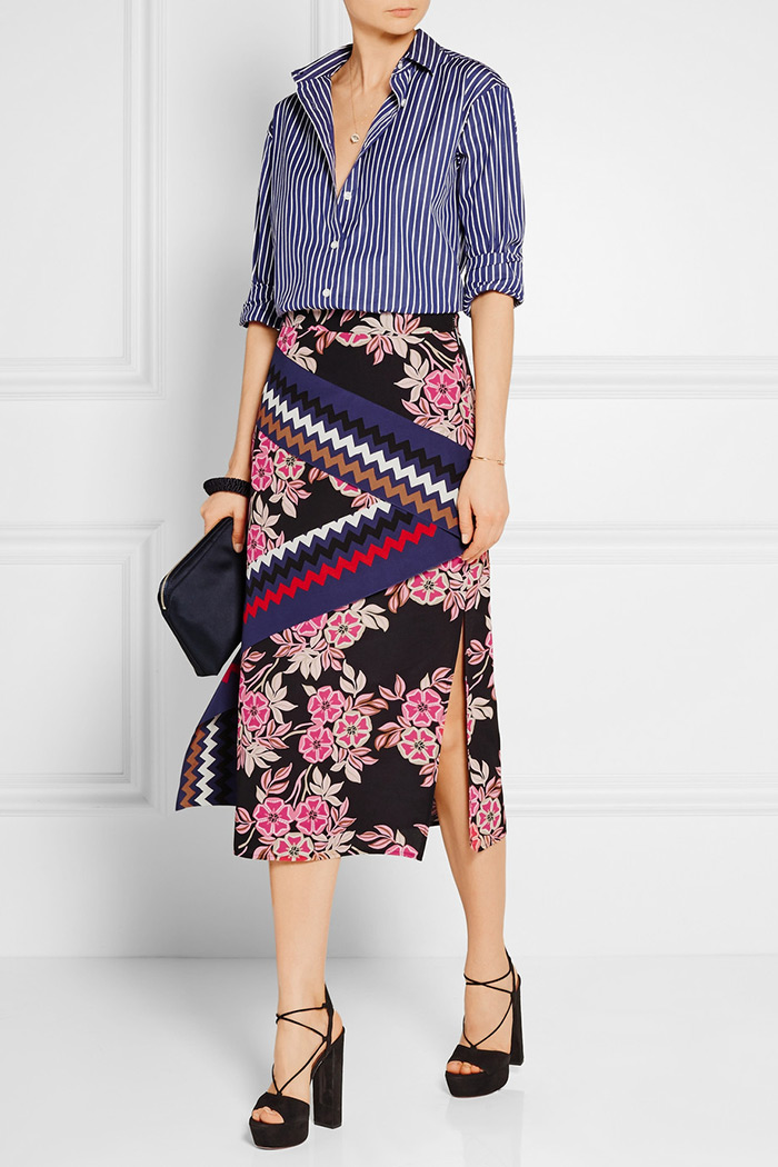 MSGMs bold silk skirt with side slit, what to wear to work