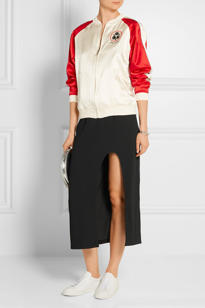 Opening Ceremonys Talene side cut out skirt and bomber jakcket, wear to work outfit inspiration