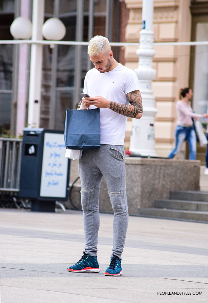 mens styling sneakers men fashion how to wear grey skinny joggers and sneakers, guys sporty outfit, men outfit ideas casual