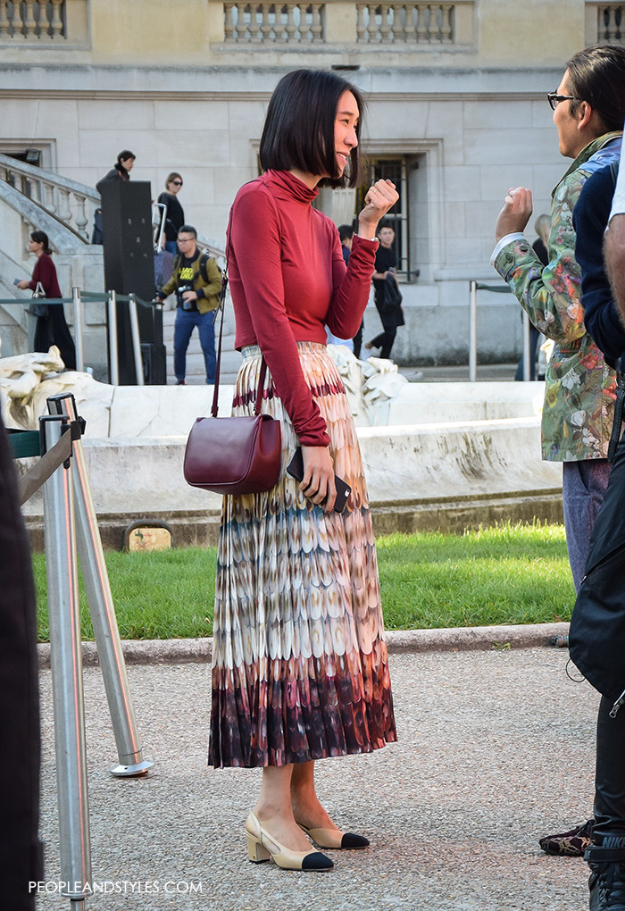 Eva Chen wearing Chanel Granny Slingbacks, They are Wearing Chanel Granny Slingbacks. Street style outfits from Paris Fashion Week, Pinterest paris people street images