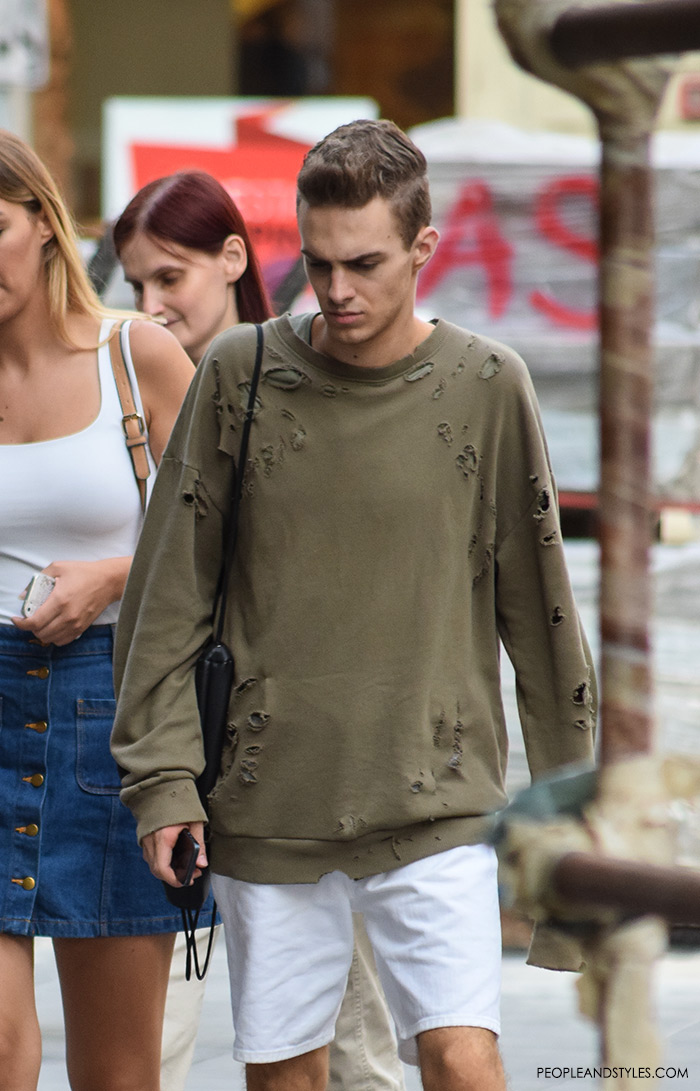 latest casual men's fashion daily outfit inspirations, how to wear distressed t-shirt or a sweatshirt, men's fashion street style outfit, very stylish mens images