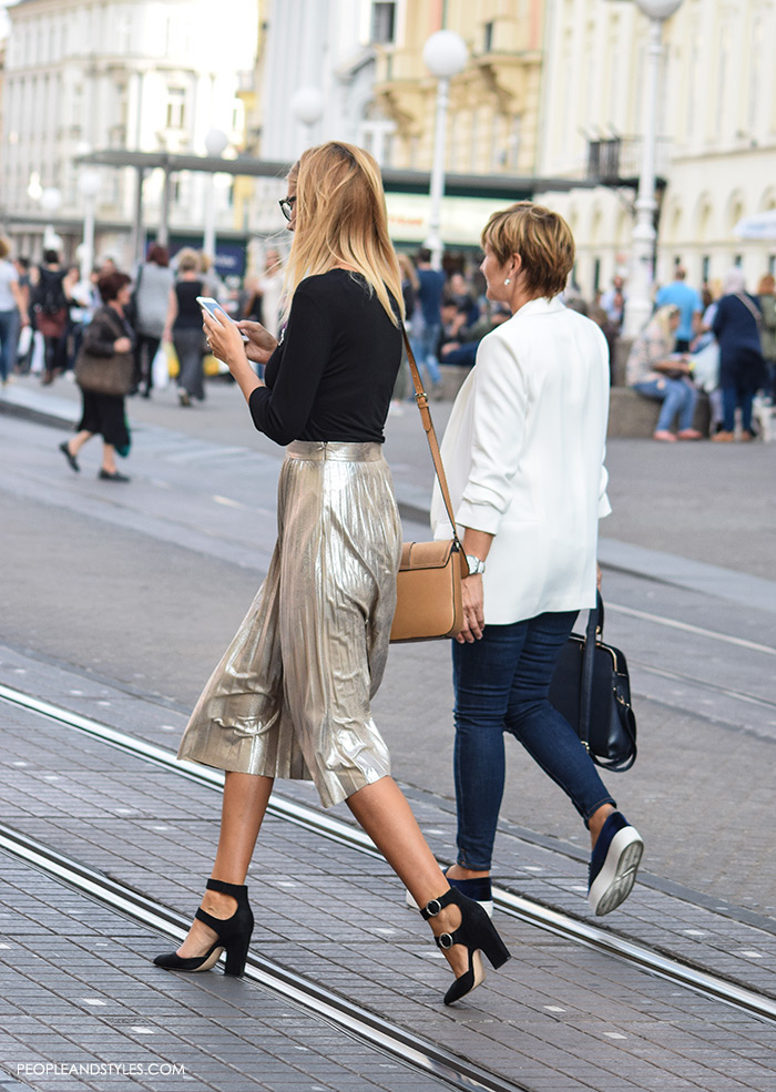 Street Style Chic: Metallic Pleated Skirts