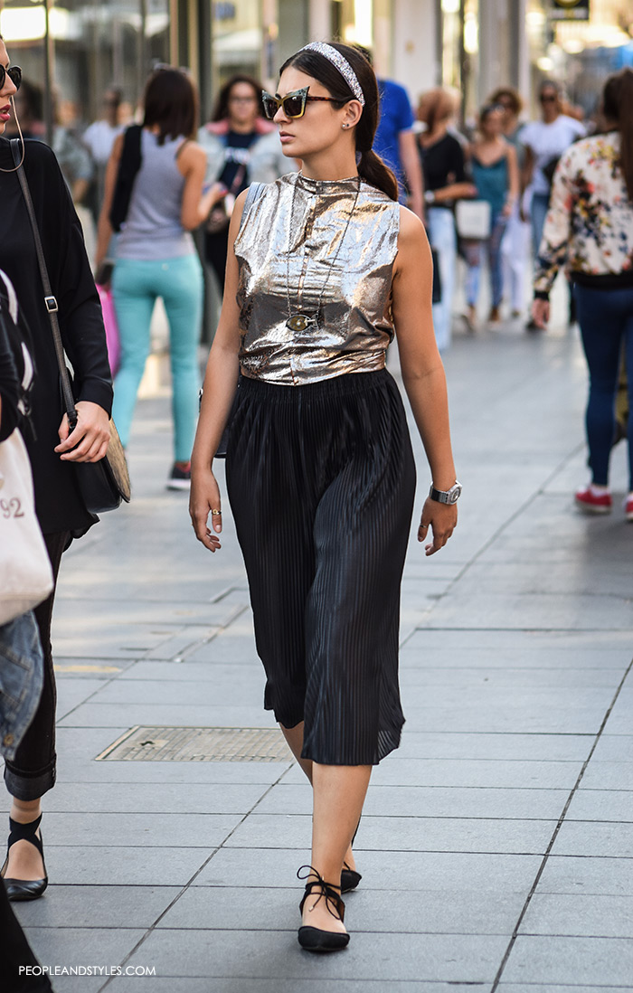 how to wear stylish street style looks with metallic pleated skirts, culottes, metallic top