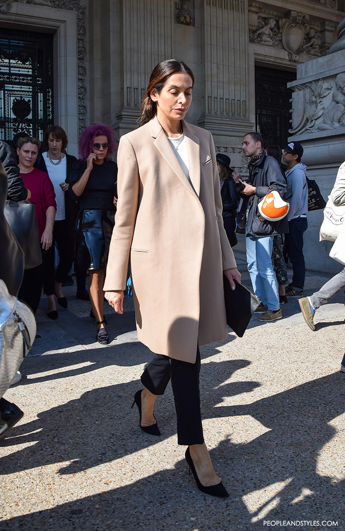 People and Styles winter womens fashion How to wear neutral beige camel color coat, street style elgant look