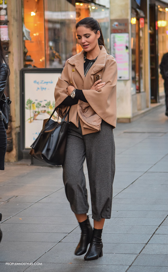 People and Style s Elegant cape, ankle boots and culottes, street style women's daily casual fashion