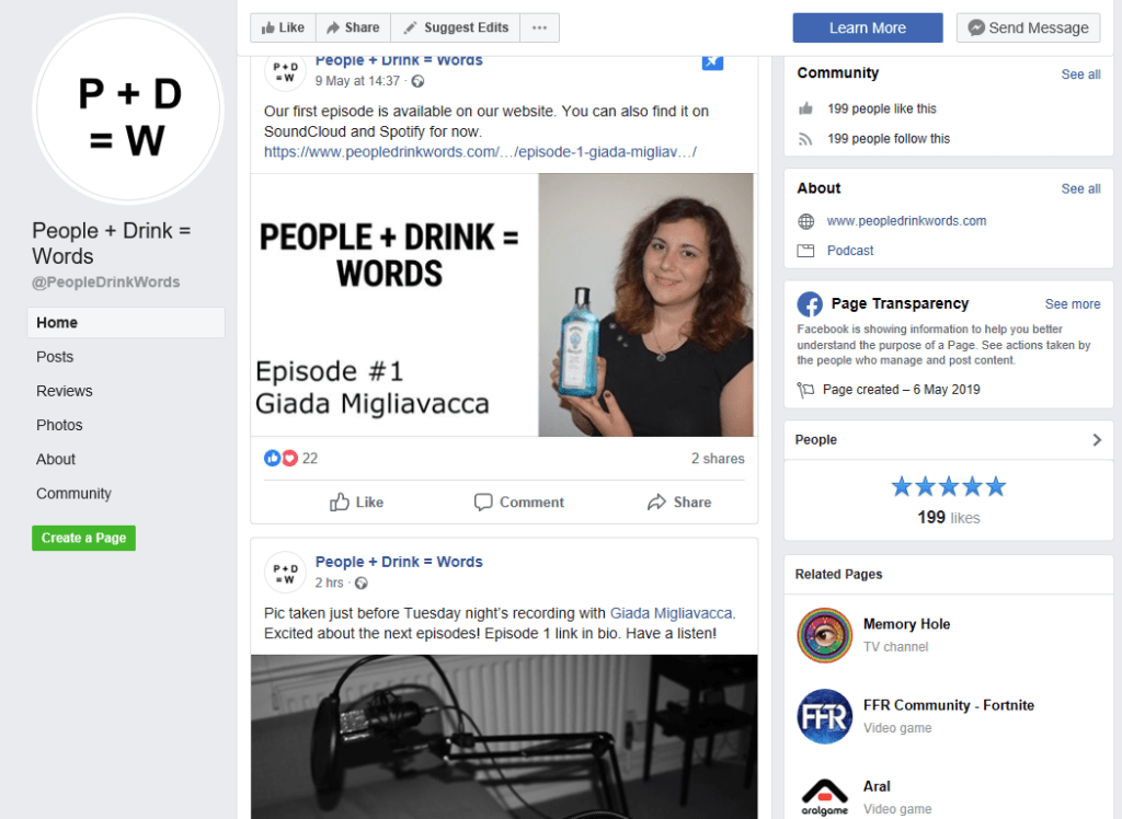 People + Drink = Words on Facebook to engage after listening new episodes