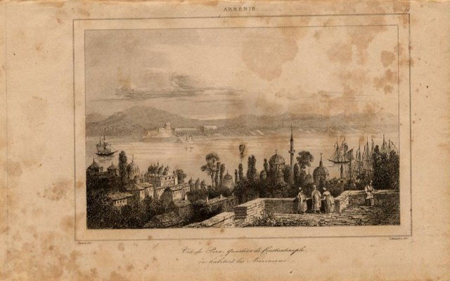 View of Pera the Armenian quarter of Constantinople Istanbul 1838 print.