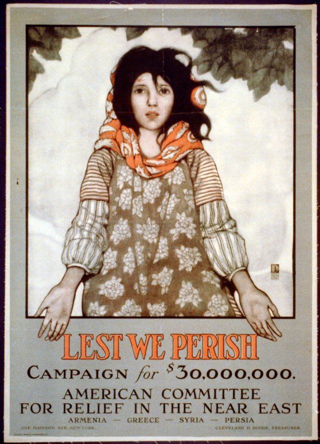 "1918 - ""Lest We Perish"" American Committee Relief in the Near East Poster"
