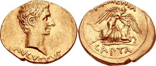 Roman Gold Aureus of Augustus (27 B.C.E.-14 C.E.), Struck in 19 BC, in celebration of victory over Armenia (Armenia Capta)