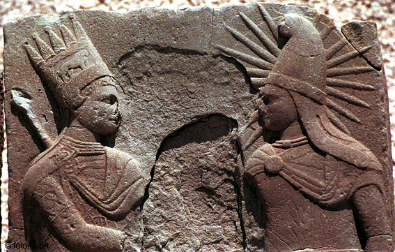 Antiochus I Theos of Commagene shaking hands with the deity Mihr