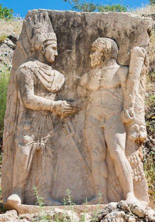 Antiochus I Theos of Commagene shaking hands with the deity Vahagn