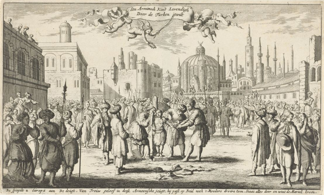 Armenian child skinned alive by the Turk, Jan Luyken, 1681